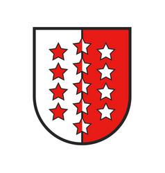 Switzerland canton flag swiss coat arms valais vector