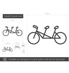 Tandem bicycle line icon vector