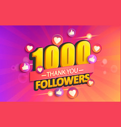 Thank you 1000 followers banner vector
