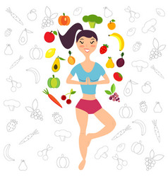 The girl and fruits vegetables vector