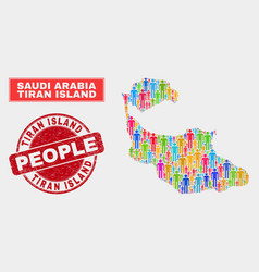 Tiran island map population people and corroded vector