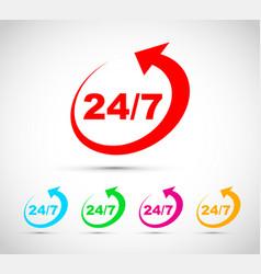 Twenty four seven icon set vector