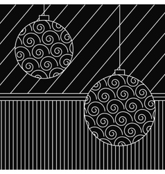 Vintage card with Christmas balls vector image