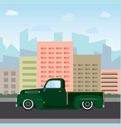 Vintage color car on city background vector