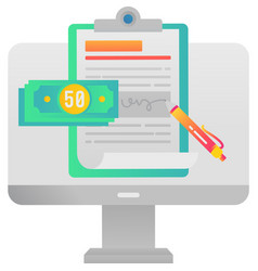 Wage icon financial web document signing vector