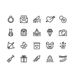 wedding line icons marriage ceremony and vector image