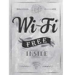Wi-fi free inside the poster in charcoal on board vector