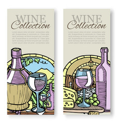 winemaking and grapes vintage sketch set of vector image