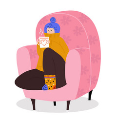 Woman character sitting cozy armchair female vector