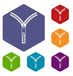 Zipper with lock icons set vector