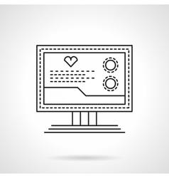 Cardio diagnostics flat thin line icon vector
