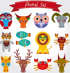 cute animal set including lion cat hors vector image vector image