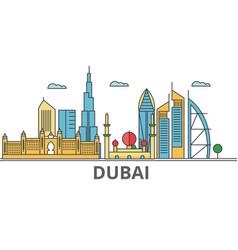 Dubai city skyline buildings streets silhouette vector