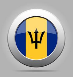 flag of barbados shiny metal gray round button vector image vector image