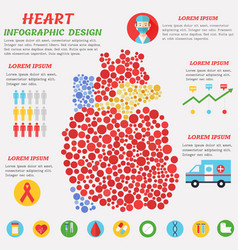 heart infographic poster with symbols text and vector image