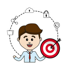 Man with arrow target and technology icons data vector