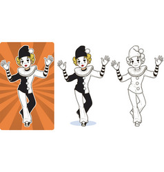 mime white clown circus character vector image vector image