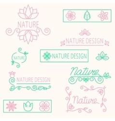 set linear ornament elements eco-design vector image