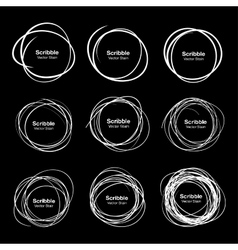 Set of 9 White Hand Drawn Scribble Circles vector image vector image