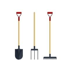 Set pitchfork shovel spade rake flat tool icon vector image vector image