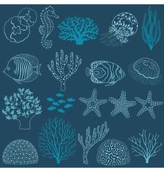 Underwater life design elements vector image vector image