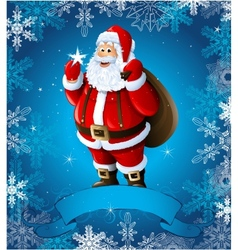 Blue Christmas greeting card with santa claus vector image vector image