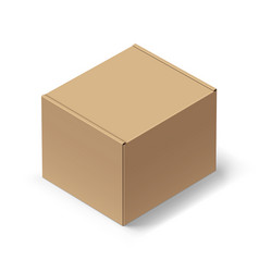 close up carton box with shadow on white vector image vector image