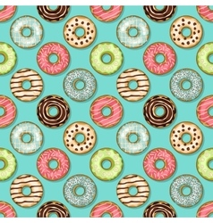 donuts seamless pattern on blue background vector image