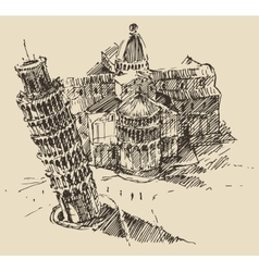 Leaning Tower Pisa Cathedral Italy Vintage Sketch vector image vector image