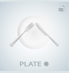 plate with fork and knife crossed isolated on a vector image