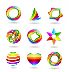 rainbow icons vector image vector image