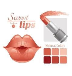 Sexy kissing woman lips with natural beige vector image vector image