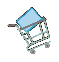 shopping cart online laptop technology sketch vector image