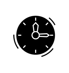 time - clock icon black sign vector image
