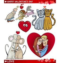 valentine cartoon love set vector image