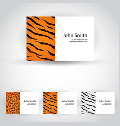wild animals business card set vector image vector image