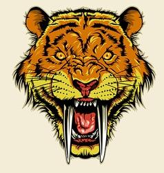 angry sabertooth head vector image