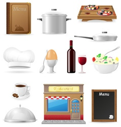 set kitchen icons for restaurant cooking vector image vector image