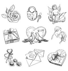 Set valentines day objects Love icon vector image