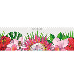 tropical flowers border seamless pattern in sketch vector image vector image