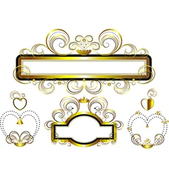 Frames with gold stars vector image vector image