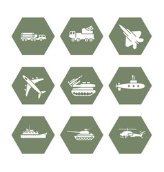 military transportation icons set - army icons vector image