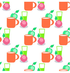 Seamless pattern with red mug glass and apples vector