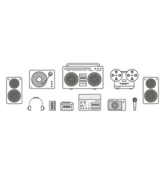 sound systems retro collection portable player vector image