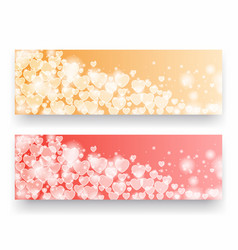 valentine day banners with hearts vector image vector image