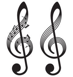 abstract treble clefs music elements vector image