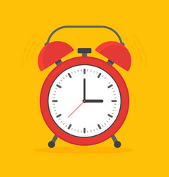 alarm clock red wake-up time isolated on vector image