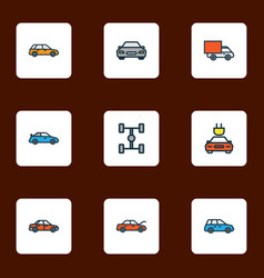 auto icons colored line set with sport car vector image