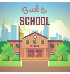 Back to school poster with schools building vector image