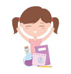 back to school student girl with notebook paper vector image